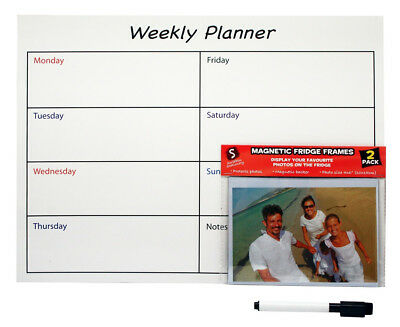 Scribbles Stationery Magnetic Weekly Planner w/ 2 Magnetic Photo Frames