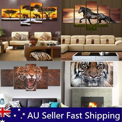 5Pcs Unframed Animal Modern Wall Oil Painting Picture Canvas Print Home Decor