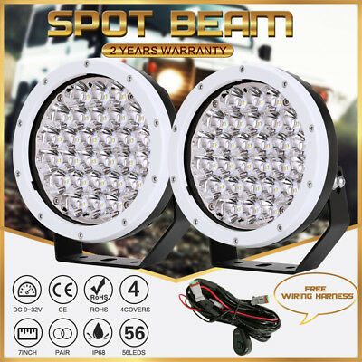 7INCH 98000W Cree LED Driving Light Spot Round White Offroad SUV Jeep Truck HID