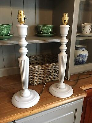 Pair Of Hand Turned Wooden table lamp Stands In Farrow & Ball Cornforth White