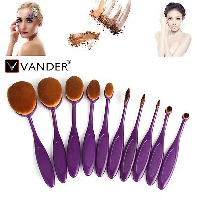 10pcs High Quality Oval Fashion Makeup Brush Beauty Make-up-Tools Travel Suit