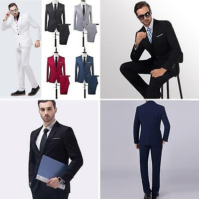 Men's Slim Fit Business Leisure One Button Formal Two-Piece Groom Wedding Suit P