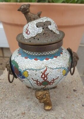 Chinese White Cloisonne Tripod Censer w/ Foo Dogs - Dragon Design