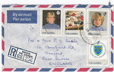 T2041 Gambia registered air cover to UK, 1982. 4D 55b rate, 4 Diana stamps