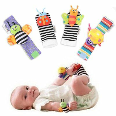 4pcs Newborn Baby Infant Toys Soft Hand Wrist Strap Rattle Handbell Foot Socks K
