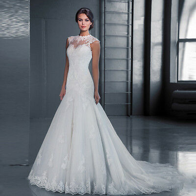 Lace Formal Mermaid Wedding Dress Ball Gown Party Cocktail Prom Bridesmaid Ivory