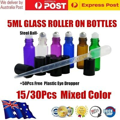 5ML Thick Amber Glass Roller Bottle Steel Ball Perfume Essential Oil +Dropper AU