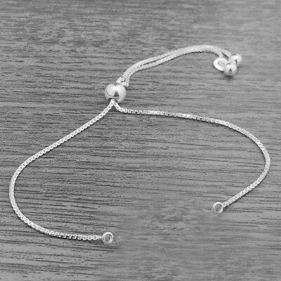 Genuine 925 Sterling Silver Adjustable Slider Bracelet Mechanism Only with Chain