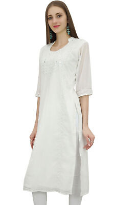 Bimba Women's White Georgette Embroidered Dress Kurti Indian Kurta Clothing