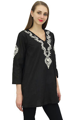 Bimba Women's Black Cotton Embroidered Long Sleeve Top Tunic Casual Dress