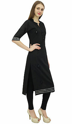 Bimba Women's Black Cotton Embroidered Kurta Kurti Casual Tunic Summer Wear