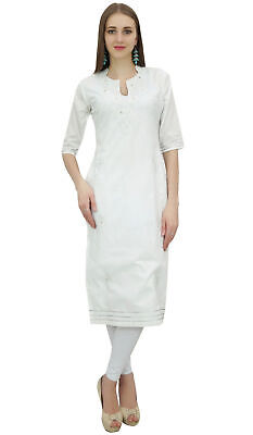 Bimba Women's White Cotton Embroidered Kurta Kurti Casual Summer Tunic Wear