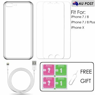 Tempered Glass Screen Protector+ Case+Charging Cable for iPhone 7/8 Plus X