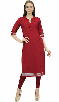 Bimba Women's Maroon Cotton Embroidered Kurta Kurti Casual Tunic Summer Wear