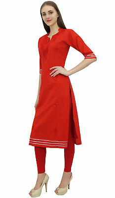 Bimba Women's Red Cotton Embroidered Kurta Kurti Casual Tunic Summer Wear