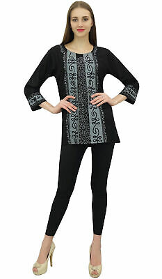 Bimba Women Rayon Black Summer Tunic Long Sleeve Embroidery Casual Loose Top