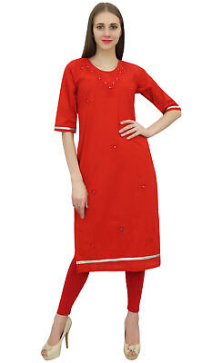 Bimba Cotton Embroidery Kurti Tunic Round Neck Ethnic Red Casual Kurta Wear