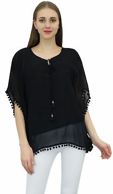 Bimba Women's Black Tunic Top Long Loose Fit Embroidered Short Kimono Sleeve