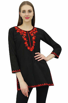 Bimba Women's Ladies Black Tunic Full Sleeve Floral Embroidery Fashion Top