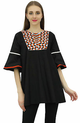Bimba Women's Black Cotton Tunic Blouse Tops Summer Loose Flounce Sleeve