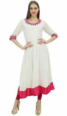 Bimba Women's White Embroidered Anarkali Georgette Indian Ethnic Clothing