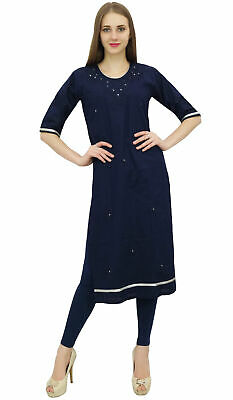 Bimba Cotton Embroidery Kurti Tunic Round Neck Ethnic Blue Casual Kurta Wear