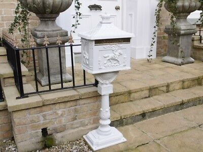 The Mulberry Bush White Free Standing Ornate Traditional Metal Mailing Post Box