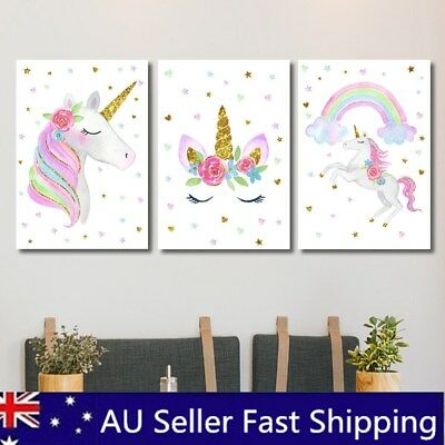 Cute Rainbow Unicorn Canvas Poster Nursery Wall Art Print Room Decor No Framed