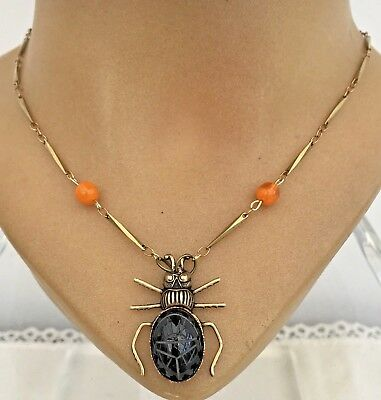 Fabulous Egyptian Revival Art Deco  Scarab Necklace