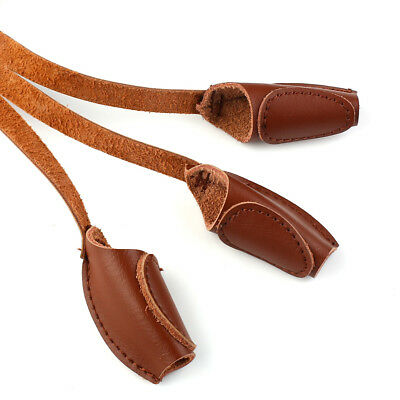 1X Archery Recurve Bow Guard Gear 3 Finger Leather Gloves Shooting Protect Brown