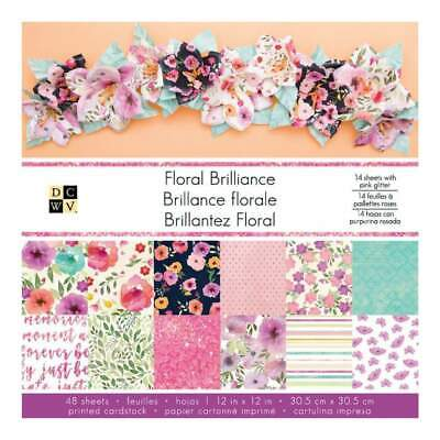 DCWV Single-Sided Paper Stack 12X12 48 pack Floral Brilliance, 12 with Pink G...
