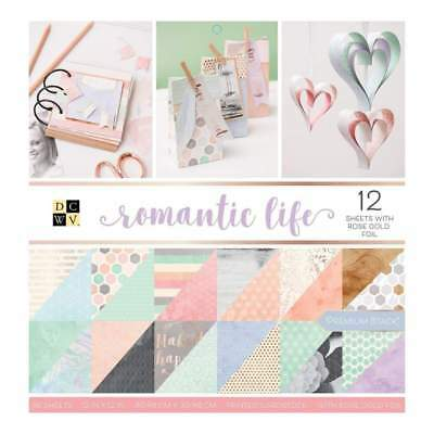 DCVW Double-Sided Paper Stack 12x12 36 pack Romantic Life with Rose Gold Foil
