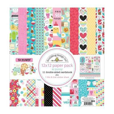 Doodlebug Double-Sided Paper Pack 12x12 inch So Punny - Includes 11 double-si...