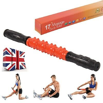 17'' Athletics Roller Travel Massage Stick, Trigger Point Body Muscle Therapy UK