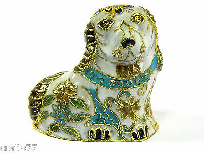 Vintage Chinese White Small Cloisonne Copper Enamel Dog Statue Figurine,Floral