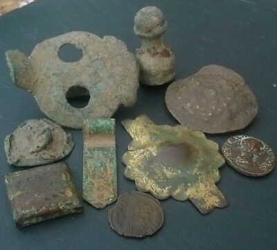 LOT Collection of ANCIENT Roman Byzantine BRONZE artifacts coins appliques