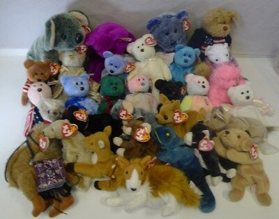 TY Beanies Plush Large Tagged Lot - Baby, Attic Tresures, Buddy, Punkies x 31 *
