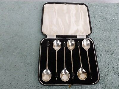 Cased set of 6 h/m Silver Coffee Bean Spoons Shef 1937