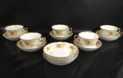 Vintage Meito China Floral Gold 5 Coffee Cups & 9 Saucers