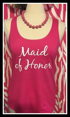 NEW size M misses pink maid of honor tank top hot pink maid of honor bach party