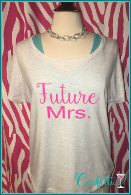 NEW size M bride tshirt pink and gold bride tshirt slouchy dolman Future Mrs