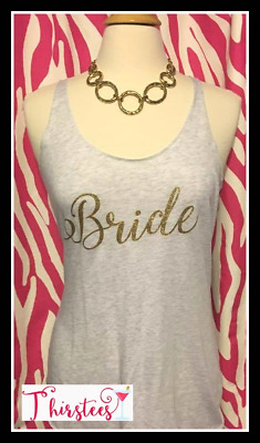 NEW size M misses bride tank top relaxed fit bride tank white and gold bride tan