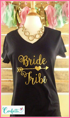 NEW XXL fitted bride tribe tshirt black and gold bride tribe shirt bridesmaid