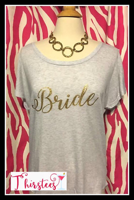 NEW size M bride tshirt gold and heather white bride tshirt slouchy dolman