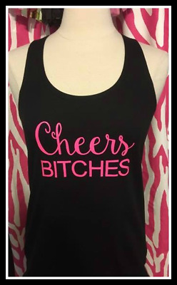 NEW size L misses black bachelorette tank top Cheers Bitches black and neon pink