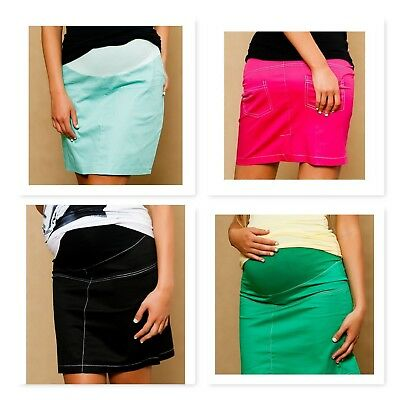 Classic Pregnancy Maternity Black Green Pink Skirt With Belly Band And Pockets