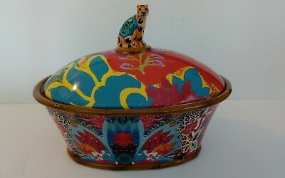 Leopard  Lg. Covered Bowl  Dish Certified Intl Tracy Porter Poetic Wanderlust
