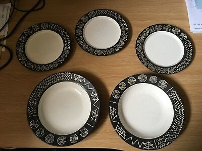 Habitat Scraffito 2 x Soup or Pasta Bowls and 3 x Side plates