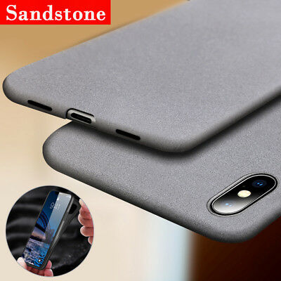 For iPhone X 8 7 6 Plus Shockproof Thin Soft TPU Sandstone Matte Back Case Cover