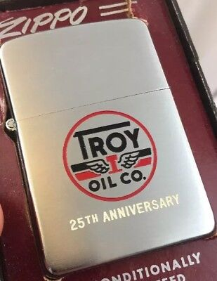 1955 Zippo Lighter Advertising TROY OIL COMPANY 25th Anniversary Mint In The Box